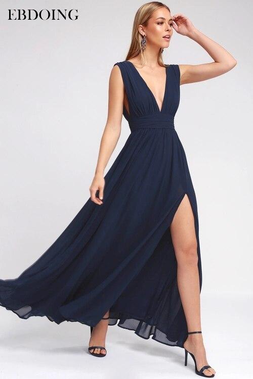 EBDOING Elegant   Evening   Dresse Robe de soiree 2019 V-neck Long Fromal   Dress   Custom Made Plus Size Vestidos de festa Party Gowns