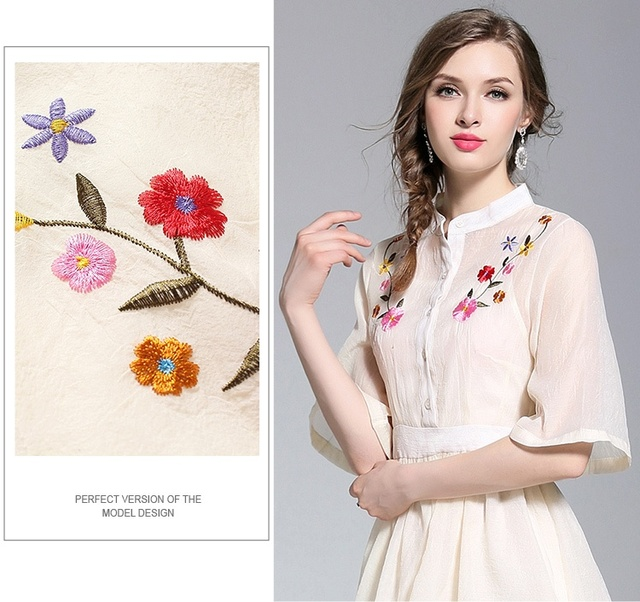 High Quality Summer Women Apricot Dress Half Sleeve Casual Office Temperament Female Mini Embroidery Robe Dresses Clothing Femme 3