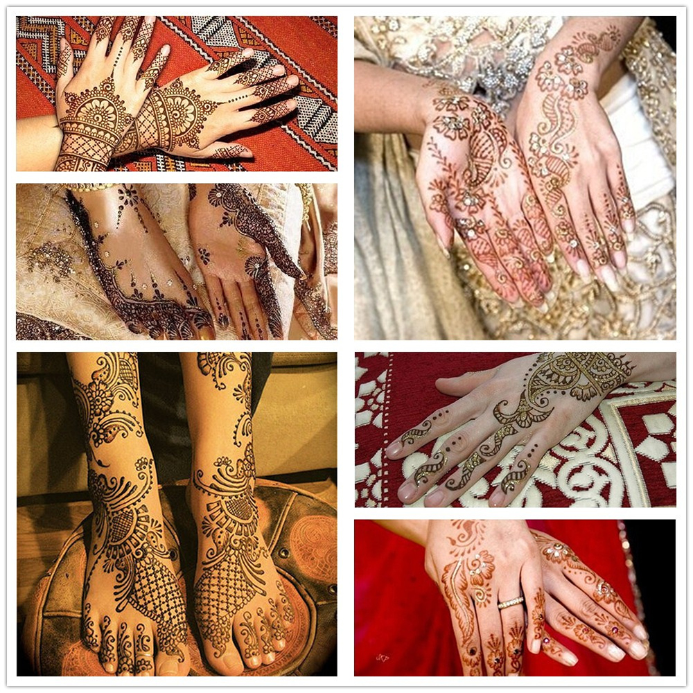 1 Pair Henna Tattoo Stencil Waterproof Flower Pattern Design Hands Mehndi for Painting Beauty Woman Body Art Tattoo Stencil S123
