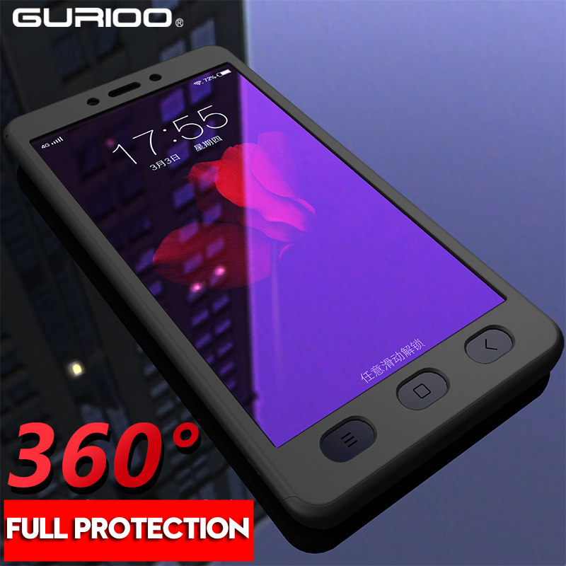 Gurioo 360 Full Cover Phone Case For Redmi Note 2 3 4 5 Hard Protective Cover For Redmi Note 4X 5A 6 7 Pro Case With Free Glass(China)
