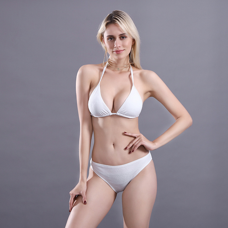 Explosion models Europe and the USA new bikini classic multi-color split bikini tether section plain swimwear women swimsuit