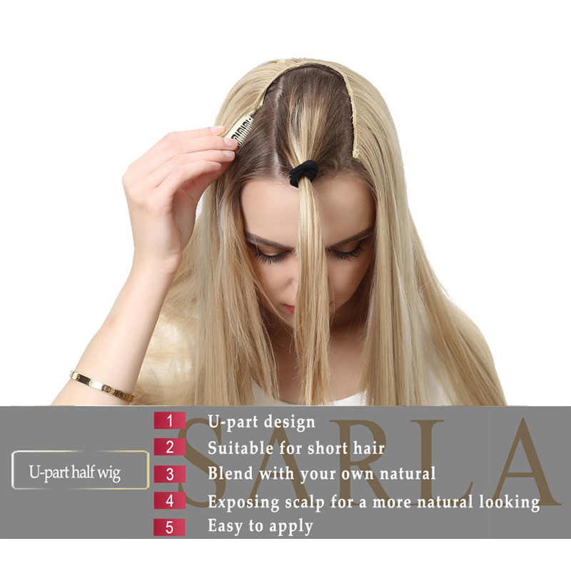 U parte media peluca sintética rizada para las mujeres Clip en la extensión del pelo Ombre peluca larga fibra invisible Natural europea