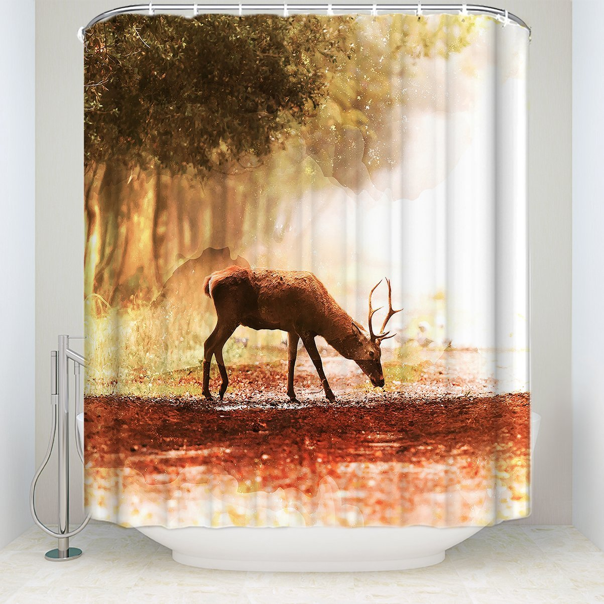 Retro Crackle Background Deer Shower Curtain Sunset Frabic Bathroom  Waterproof 60X72In(China (Mainland)