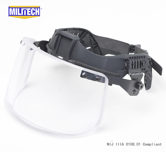 NIJ IIIA 3A Tactical Bulletproof Visor for PASGT ACH Helmet Bulletproof Visor Bullet Proof Mask for ACH PASGT Ballistic Helmet