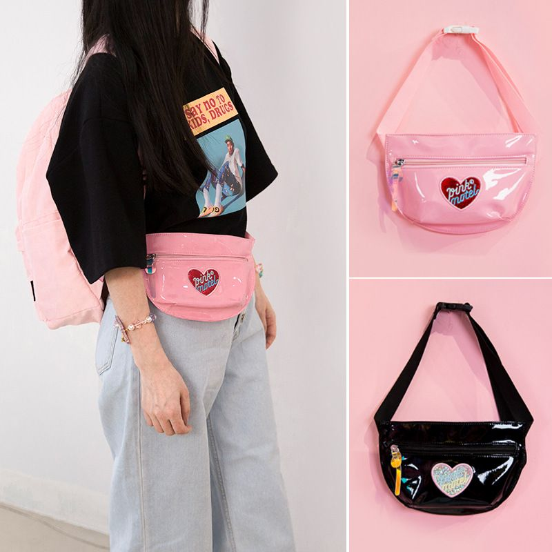 Women Travel Hologram Chest Bag Waist Fanny Pack Earphone Hole Money Belt Wallet Bum Bags Phone Pouch Girls holographic belt purse
