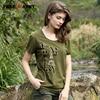 T Shirt Women 2017 Summer Fashion Diamonds Female T Shirt Female Long Sleeve Tshirt Army Green
