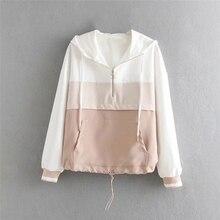 Spring Womens Jackets Causal Patchwork Thin Windbreaker Women Basic Loose Coats Zipper Lightweight Famale