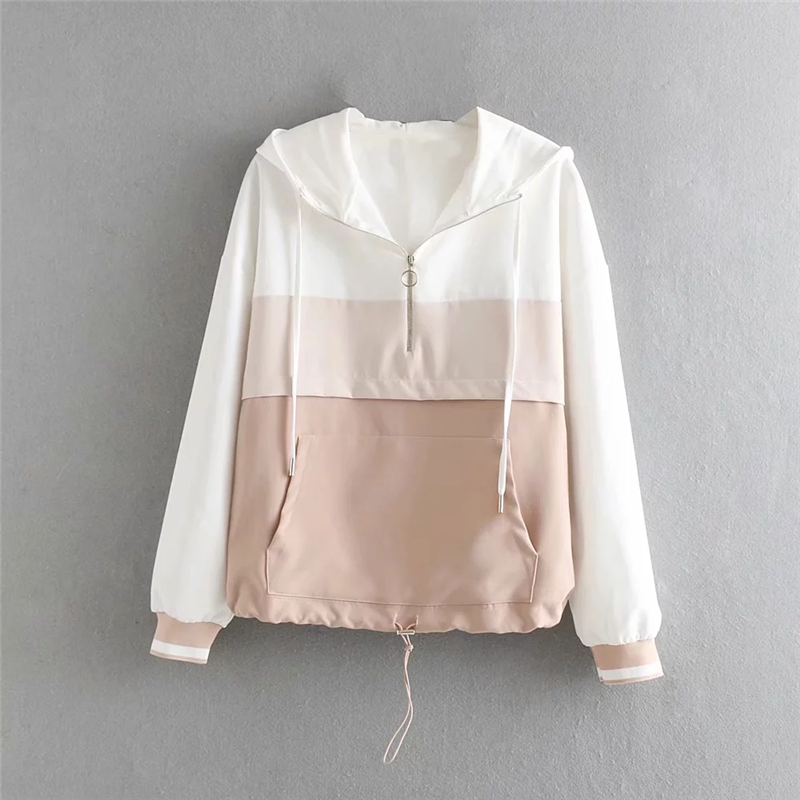 Spring Women's   Jackets   Causal Patchwork Thin Windbreaker Women   Basic     Jackets   Loose Coats Zipper Lightweight Famale   Jackets