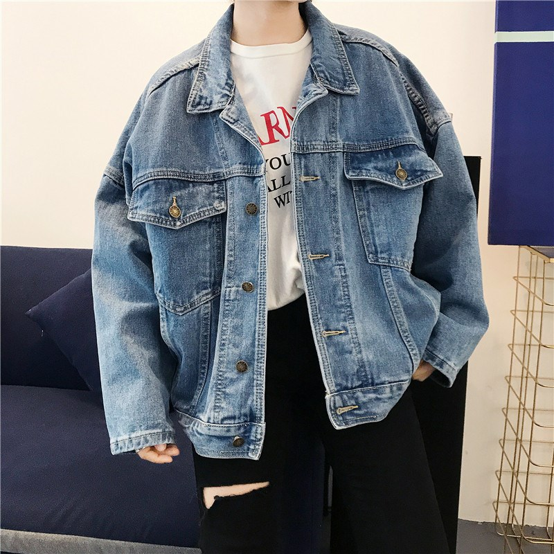Hot Sale Fashion Women Pockets Jeans   Jacket   Turn-Down Collar   Basic   Denim Outerwear Autumn Long Sleeve Blue Loose   Jacket