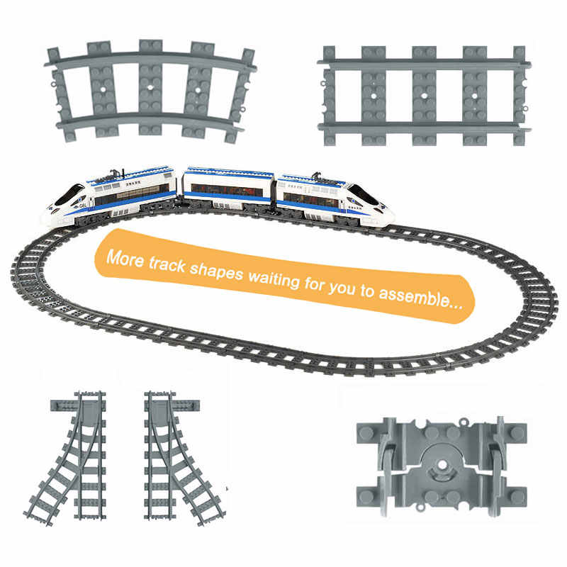 Flexible City Trains Rails Track Railway Model sets Forked Straight Curved Building Blocks Bricks Compatible major brand Toys