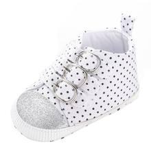 New Spring Autumn Canvas Infant Toddler Boy Baby Kids First Walkers Polka Dots Sports Sneaker High Top Shoes(China)