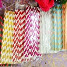 100 шт Смешанные бумажные соломинки, бумажные Полосатые Ретро винтажные полосы для питие для вечеринки соломки для дней рождения свадебные бумажные всасывающие трубки