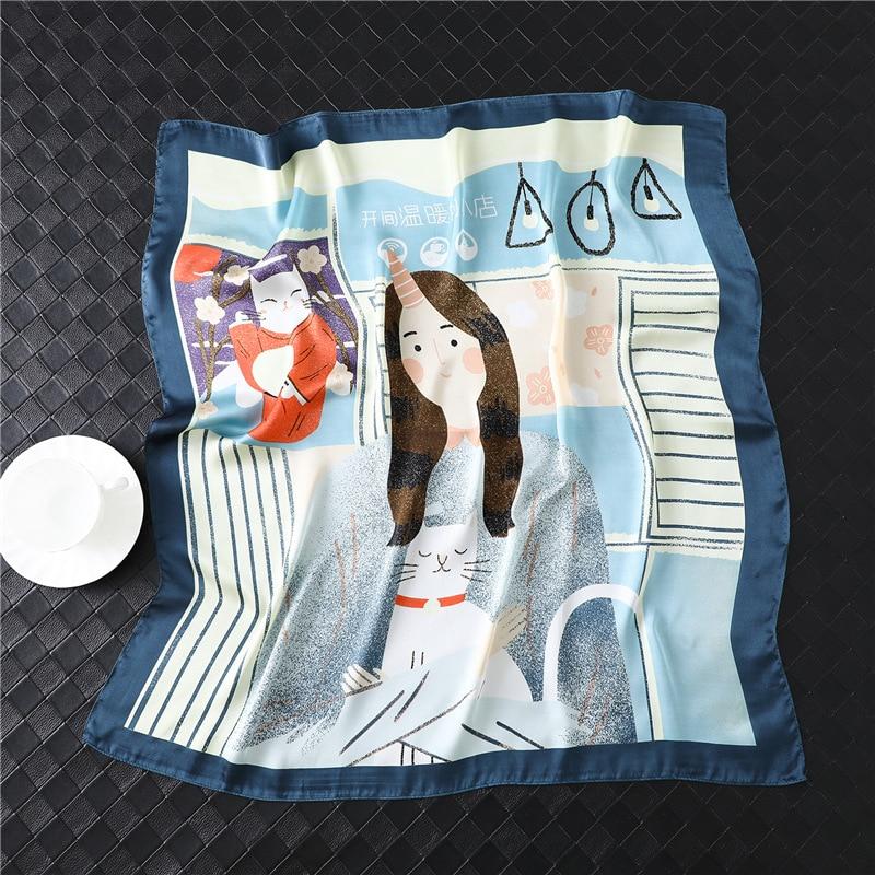 Women Silk Scarf Neck Foulard Hair Band Lady Fashion Carton Girl Cat Print Head Kerchief Female Small Shawls 2020 New