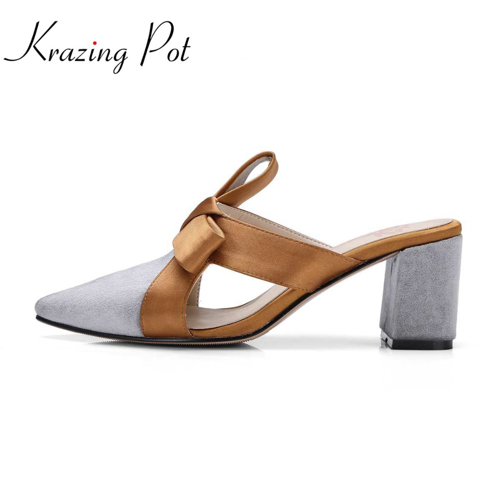 Krazing pot sweet shopping women shoes slingback pointed toe slip on fashion bowtie mules high heels streetwear women pumps L31 cloth slip on bowtie pointed toe womens sandals