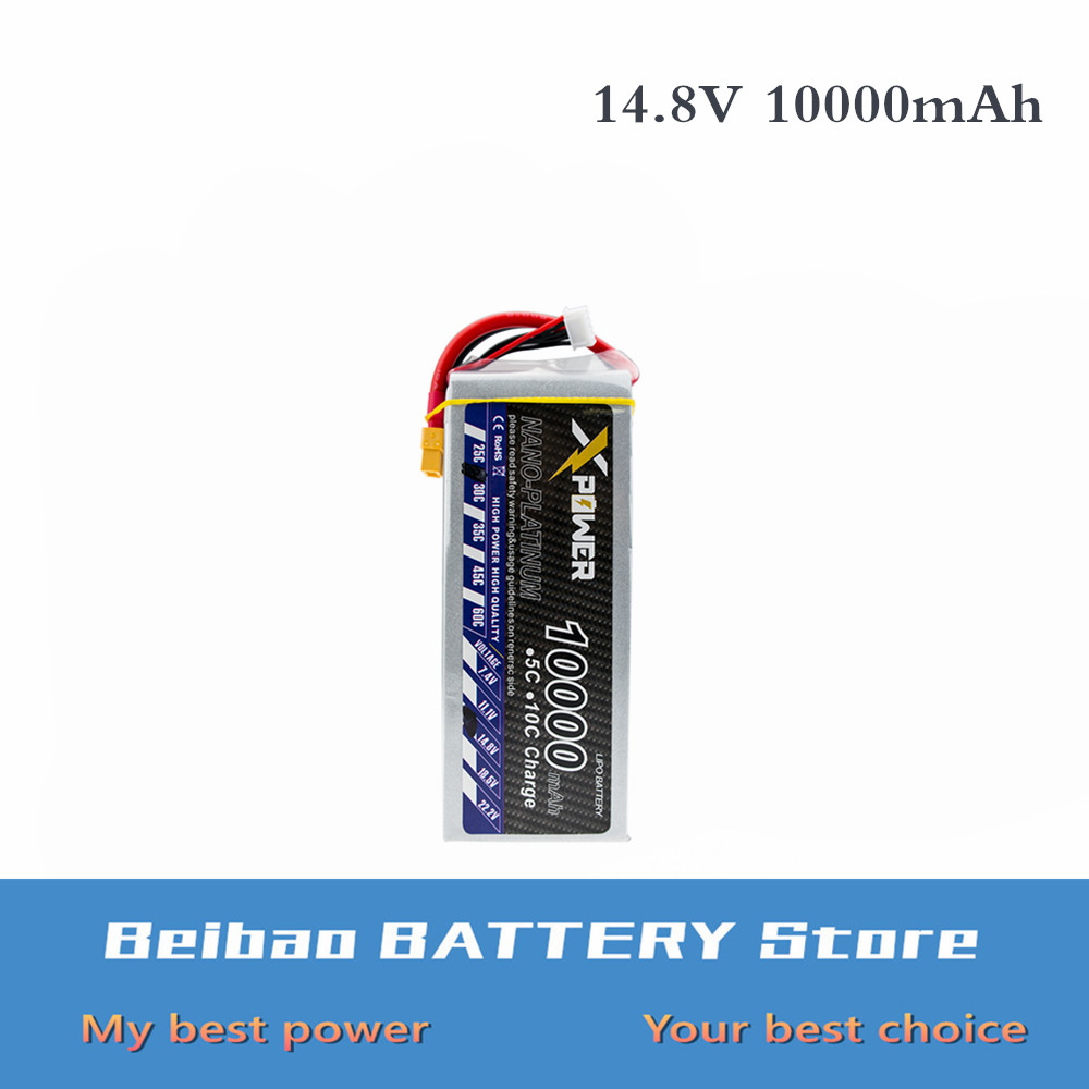 14.8v 10000mAh 30C max 35C 4s Lipo battery Xpower lithium batteries XT60 T EC5 XT90 plug for RC Helicoptes Airplane Drone(China)