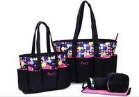 5pcs 큰 아기 기저귀 가방 엄마를위한 설정 어머니 여성 토트 백 출산 변경 기저귀 가방 주최자 베이비 케어