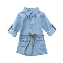 19d157beb606 Moda niños niña Jeans Denim bolsillo manga larga camisa suelta manga larga  con cinturón Mini vestido