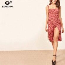ROHOPO Double Layer Women Spaghetti Strap Midi Dress Printed Single Breast Buttons High Waist Elegant Flared Vestido #YY008H
