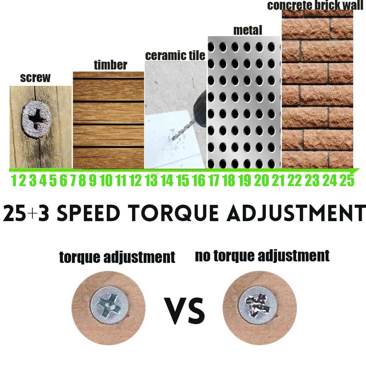 36 فولت اللاسلكي حفار كهربائي دقاق 1 أو 2 بطارية ليثيوم أيون 25 + 3 عزم الدوران مفك مصباح ليد لتقوم بها بنفسك المنزل اليد حفر مسطح أدوات كهربائية