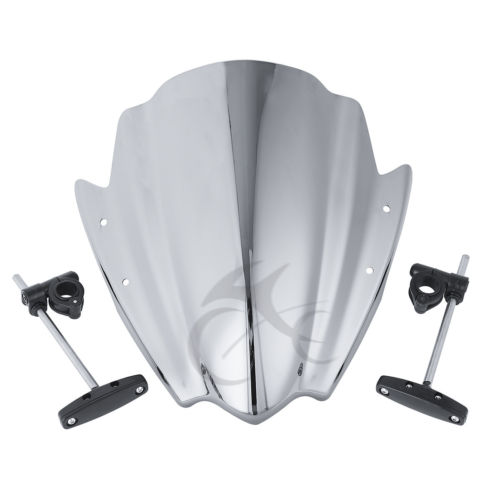 7/8 Universal Windshield Windscreen W/ Bracket Mount Bar For Harley Honda Suzuki Yamaha FZ1 FZ6 FZR YZF R1 R6 R6S 600 Handlebar aftermarket free shipping motorcycle partsbillet oil fluid reservoir cap for yama fzr600 yzf600r fz6 r6 r6s fz1 r1 chromed