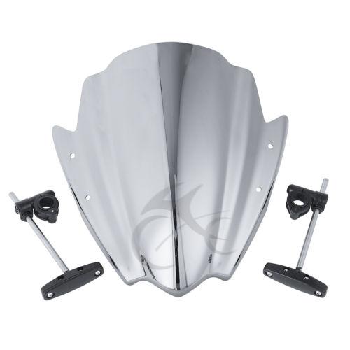 Universal Motorcycle Windshield Windscreen W/ Bracket Mount Bar For Harley Honda Suzuki Yamaha FZ1 FZ6 FZR YZF R1 R6 R6S 600 цена