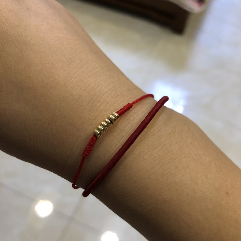18k Gold Flat Bead Bracelet Diamond Knot Red Rope Gold Tail Buckle Hand woven Red Rope Holiday Exquisite Gift Bracelet Anklet in Bracelets Bangles from Jewelry Accessories