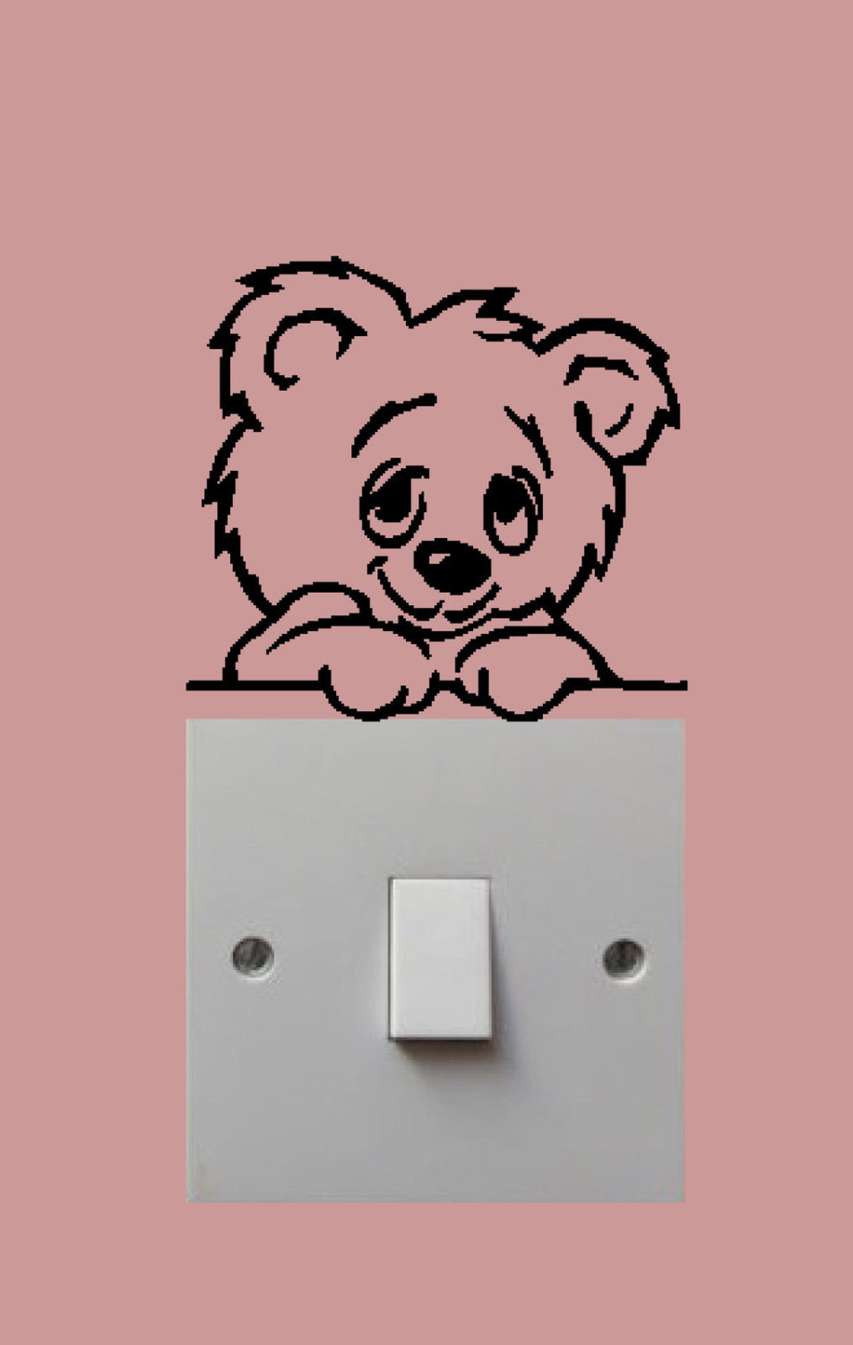 Teddy Bear Light Switch Stickers Decor Cartoon Wall Decals Art Mural