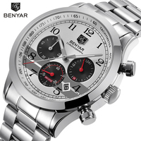BENYAR Stainless Steel Waterproof Chronograph Watches Quartz Military Men Watch Top Brand Luxury Male Sport Clock