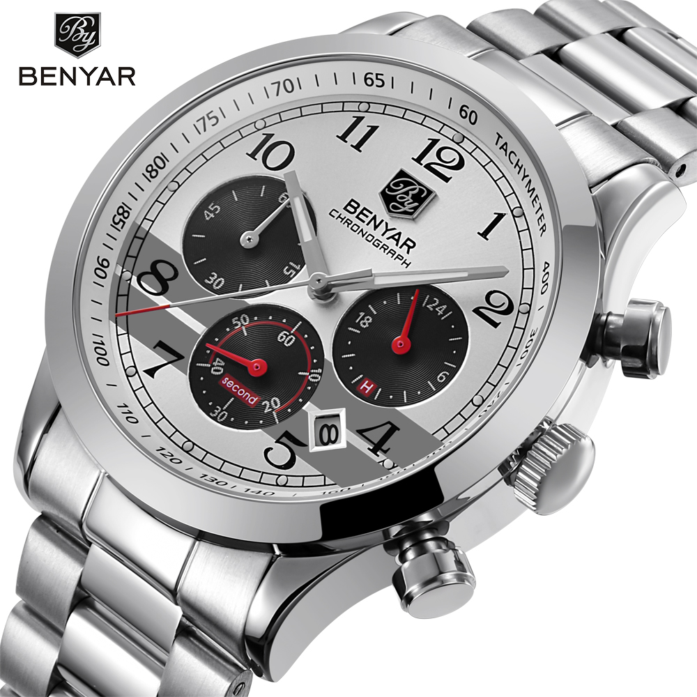 BENYAR Stainless Steel Waterproof Chronograph Watches Quartz Military Men Watch Top Brand Luxury Male Sport Clock reloj hombre kinyued top brand luxury watches men luminous sport men s watch steel male clock men quartz wristwatches reloj hombre 2017 saat