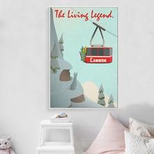 Cartel de paisaje moderno, coche trepador, montaña, nieve, Vintage, póster, impresión en lienzo, pintura, cuadro, decoración del hogar