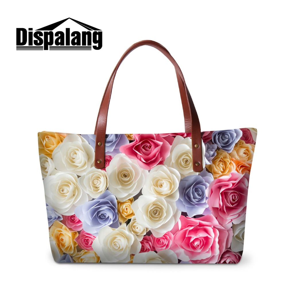 Diapalang Polyester Cotton Fabric Design Print Flower Patterns on Pretty Shoulder Totes Handbag for Ladies Girls Messenger Bags