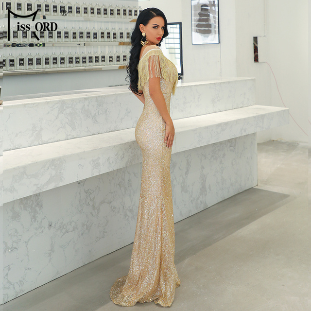 Missord 2019 Women Sexy O Neck Mesh Tassel Dresses Female Glitter Dress Elegant Maxi Bodycon Party Dress FT19008 4