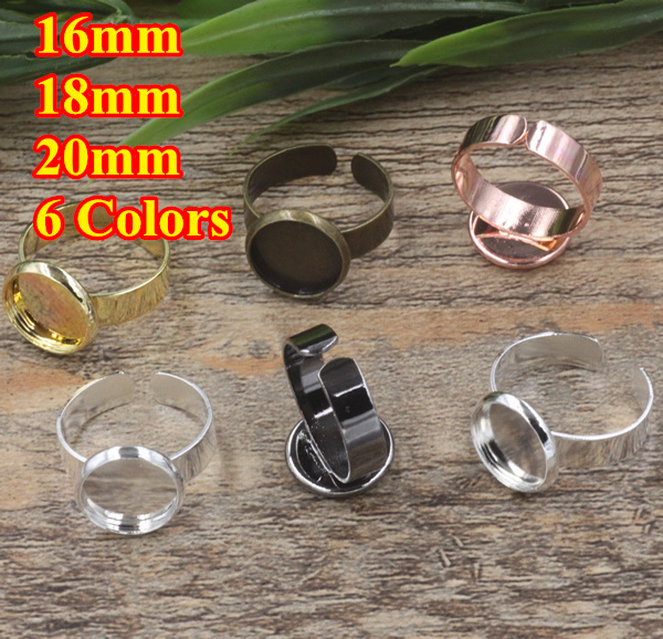 100pc Cabochon 16/18/20mm Pad ring blank with Cameo Tray,Antique Bronze/Gold/Silver Ring setting,Handmade DIY Zakka Finding