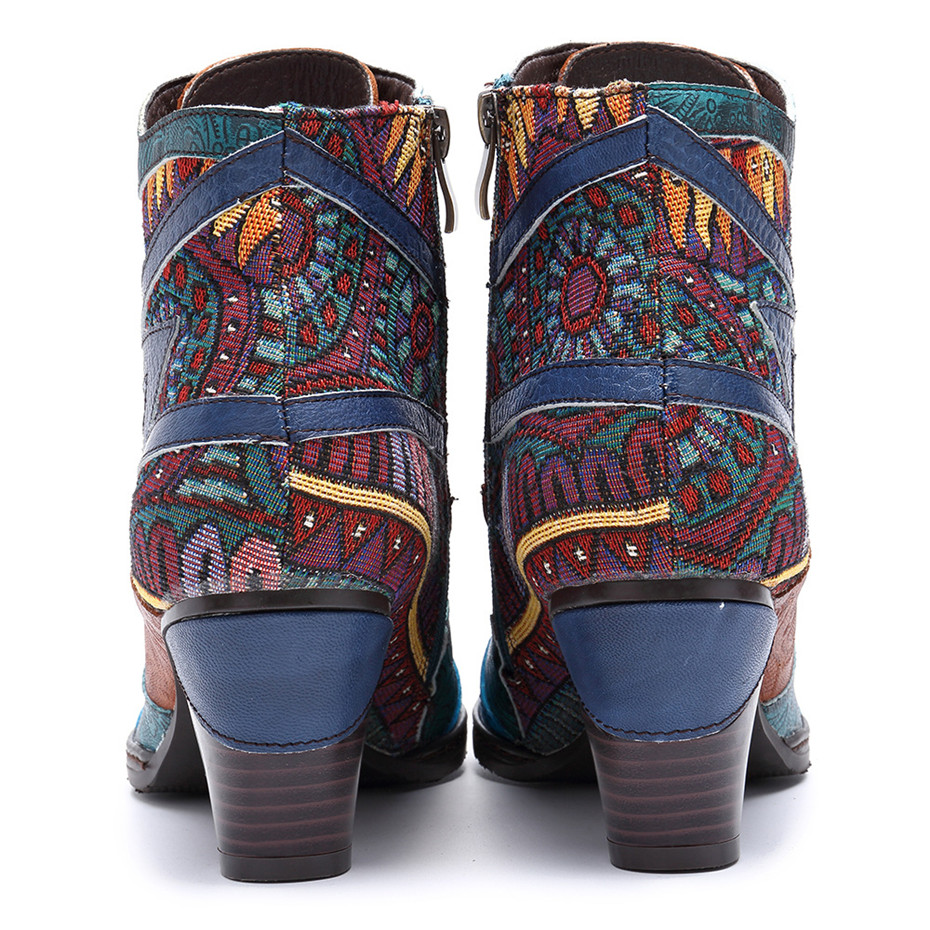 D Knight Bohemian Splicing Women Boots Retro Genuine Leather Shoes Woman Zipper Mid Heels Ankle Boots Spring Autumn Women Shoes (6)