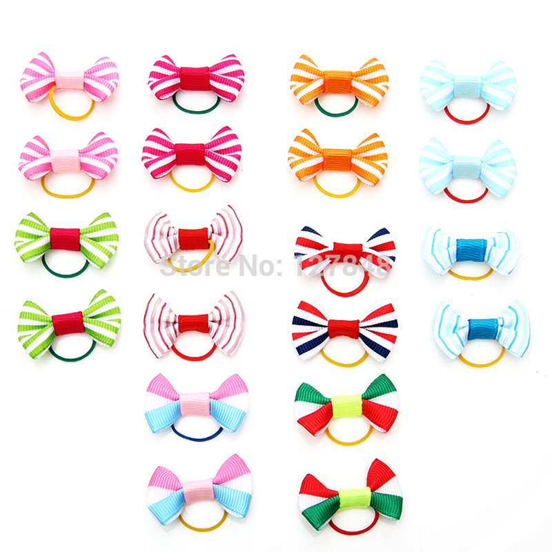 2015 New 100PCS/LOT  Handmade Designer Cats accessories pet Dog and Bows with elastic band  BoutiquePet Gifts