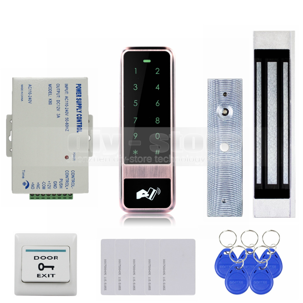 DIYSECUR 125KHz RFID Reader Password Touch Keypad Door Access Control Security System Kit Magnetic Lock diysecur touch panel rfid reader password keypad door access control security system kit 180kg 350lb magnetic lock 8000 users
