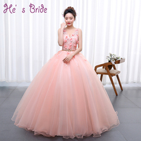 Pink Flowers Appliqued Cheap Long Prom Dresses 2017 V Neck Sleeveless Floor Length Elegant Quinceanera Dress