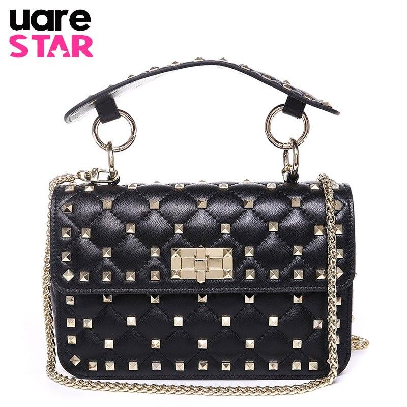 2018 INS Hot Genuine Leather Women Bags Designer Brand Rivet Design Leather Ladies' Shoulder Bags Women Handbag Luxury Handbags