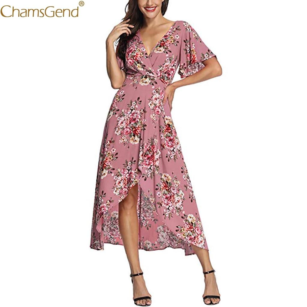 Hot Sale Women Casual Summer V Neck Dress girl Floral Print Dress Vestios Short Sleeve Floral Print Party Jun7