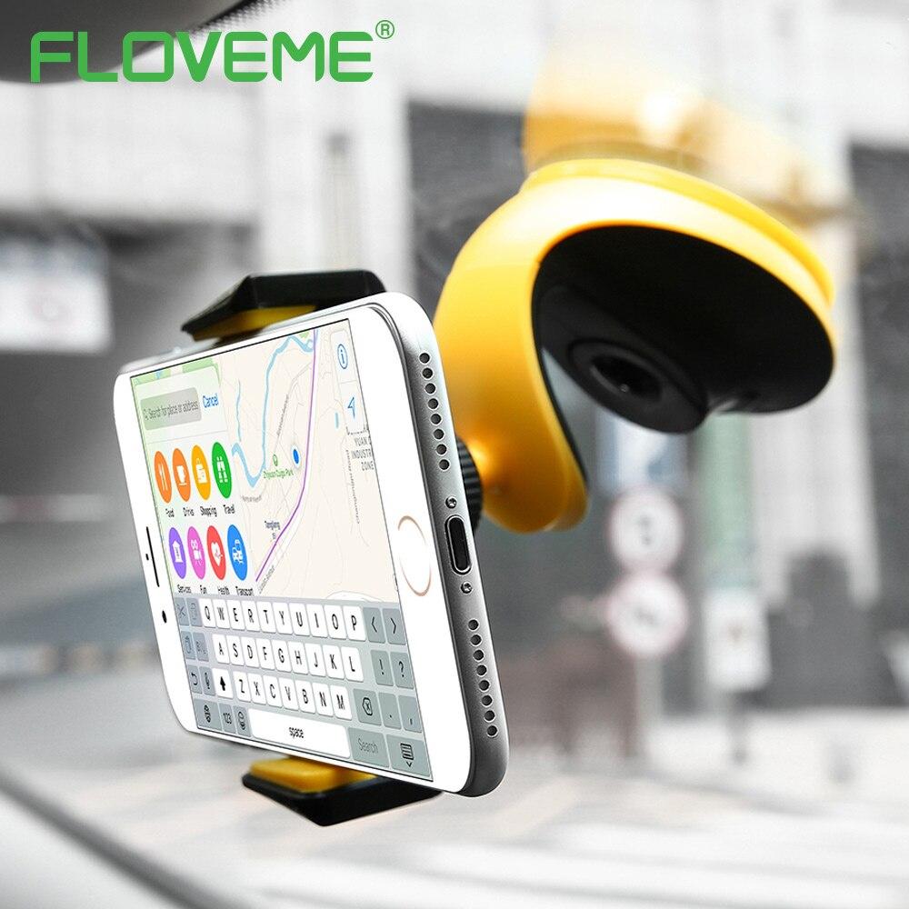 FLOVEME Universal Automatic Lock Adsorption Desk Car Phone Holder For Mobile Phone Tablet PC Vehicle Mounted Bracket Car Holder mobile phone