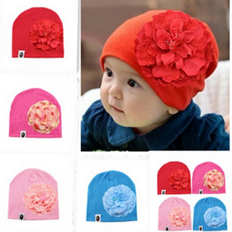 a7628682c US $4.53 |Fashion Baby Girls Hats Big Floral New Cotton Hats Baby Girl  Flower Caps Toddler Beanie Hats For Girls Kids Caps Accessories on ...