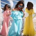 2017 Yellow Long Dress Floor Long Sundresses Beach Long Chiffon Dresses Sundresses Pink Chiffon Dress Off Shoulder Yellow Dress