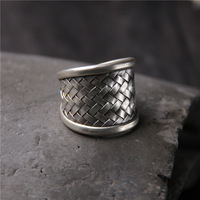 Thai Silver Handmade Silver 925 Sterling Silver Ring Men And Women Models Retro Personality Preparation Ring Open Ended