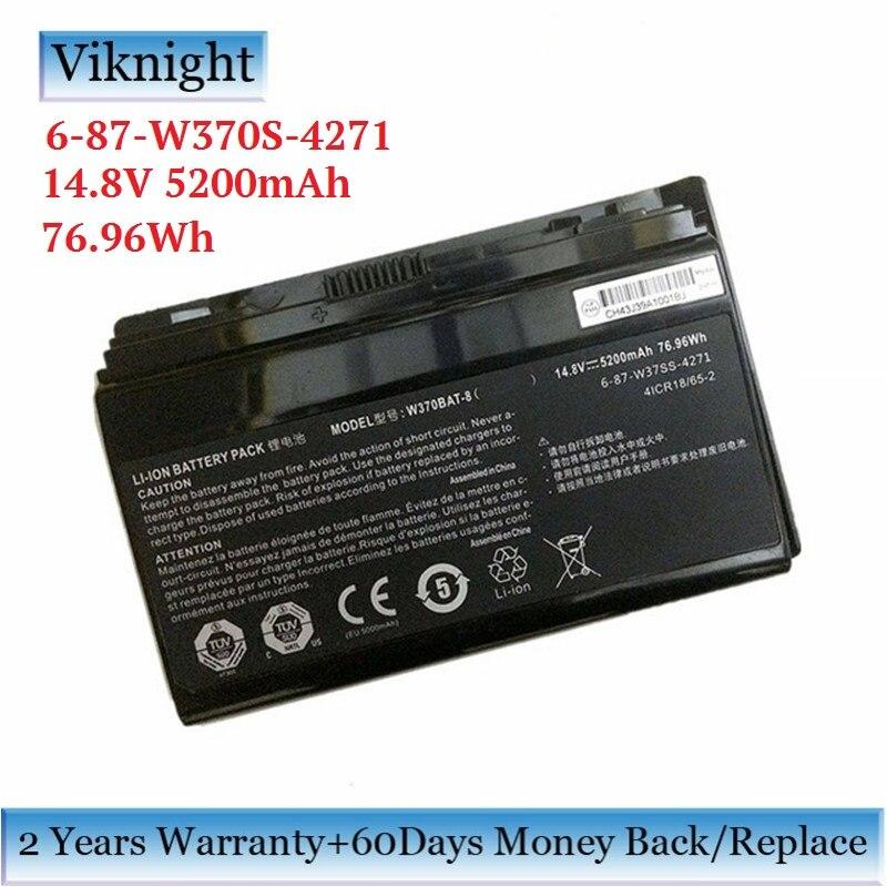 все цены на Genuine 6-87-W370S-4271 Battery For Clevo W370BAT-8 P177SM-A W350ET W350ETQ W350ST W370 Battery 6-87-W370S-4271 5200mAh 76.96Wh онлайн