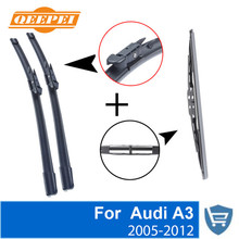 QEEPEI Front and Rear Wiper Blade no Arm For Audi A3 2005-2012 High quality Natural Rubber windscreen 24+19