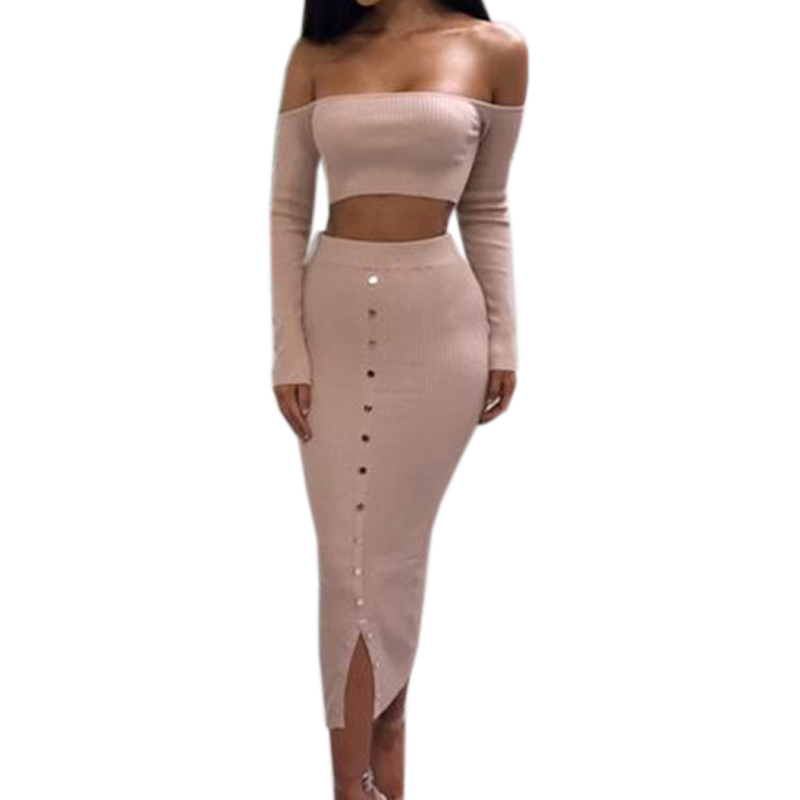 Girl Off Shoulder Buttons Skinny Split Knitted Women's Sets Winter Sexy Bodycon Two Piece Set Crop Top and Pencil Skirt PL927G