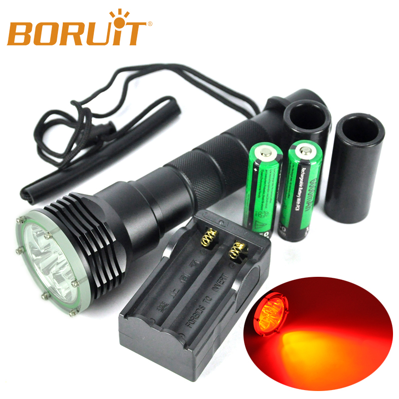 ФОТО 620nm LED Diving Flashlight 5* XPE Red LED linternas 18650 Underwater 200M Waterproof Lamp Torch With Magnetic switch