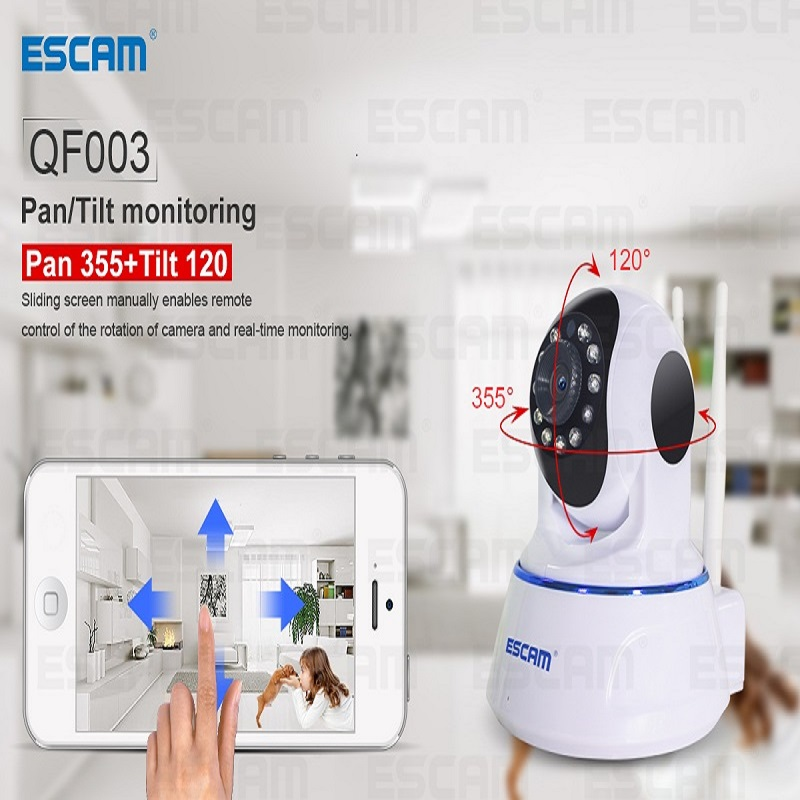 ESCAM IP Camera Onvif Wifi Security Cctv Camera 1080P 2MP H.264 Wireless Network IP CAM Dual Antenna Support Micro SD Card QF003 wistino 1080p 960p wifi bullet ip camera yoosee outdoor street waterproof cctv wireless network surverillance support onvif