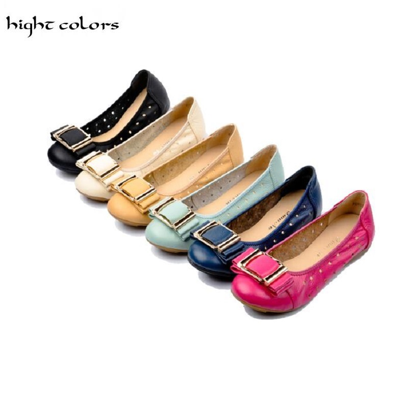 (hight colors) 34~43 2016 Spring Summer Women Flats Shoes Women Genuine Leather Shoes Woman Cutout Loafers Slip On Ballet Flats