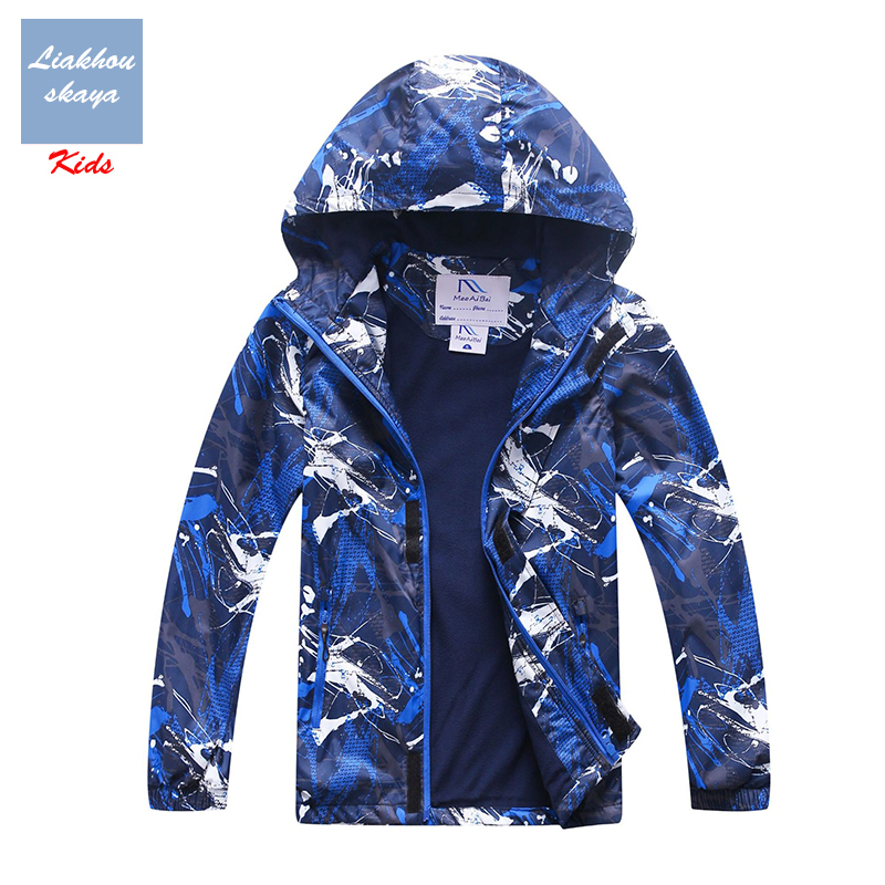Liakhouskaya/Детские ветровки водонепроницаемая куртка для мальчиков; коллекция 2019 года; сезон весна осень; теплое подростковое пальто с флисовым капюшоном